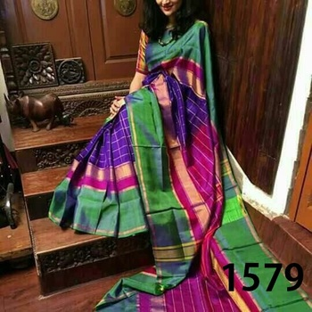 Multicolor printed silk saree with blouse