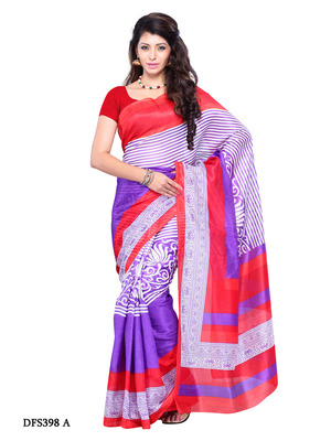Red And Violet Color Art Silk Party Wear Fancy Saree