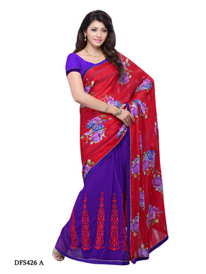 Red And Violet Color Jacquard And Georgette Bollywood Party Wear Designer Saree