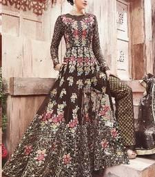 Buy Dark brown multi resham work faux woolen blends salwar with dupatta salwar-kameez online