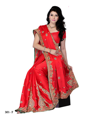 Red Color Georgette Party Wear Fabcy Saree