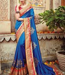 Buy Blue embroidered silk saree with blouse black-friday-deal-sale online