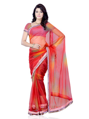 Red Color Synthetic Raw Silk PartyFestival Wear Saree