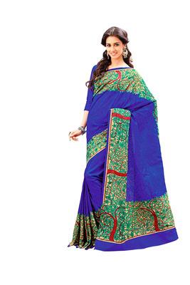 Royal Blue and Multicolor Raw Silk Saree