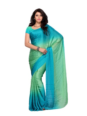 Sea Green Color Georgette FestivalParty Wear Designer Saree