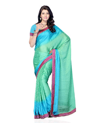 Turquise Blue Color Smokked Georgette Party Wear Fancy Designer Saree