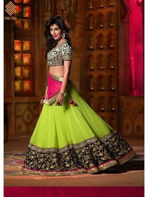 Green embroidered georgette unstitched lehenga with dupatta