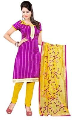 Lovely Magenta Colored Chanderi Cotton Salwar Kameez