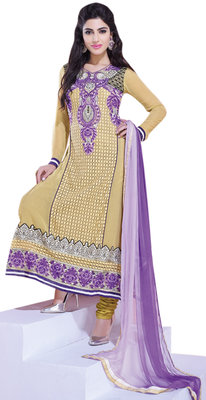 Evoking Beige Colored Embroidered Net Georgette Salwar Kameez