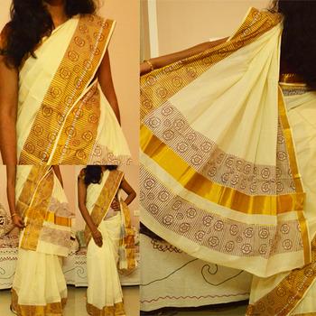 Printed off-white kerala kasavu saree