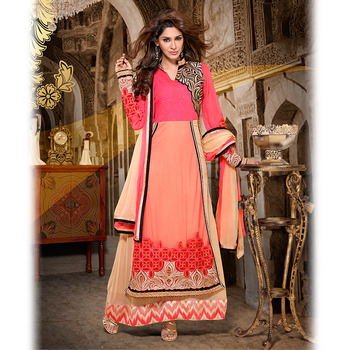 Peach and Pink Designer Anarkali Floor Touch Suit