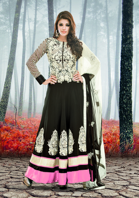 BLACK GEORGETTE EMBROIDERY DESIGNER ANARKALI SALWAR SUIT