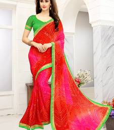 Buy Pink printed faux georgette saree with blouse bandhani-sarees-bandhej online