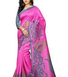 Buy Pink printed bhagalpuri cotton saree with blouse below-1500 online