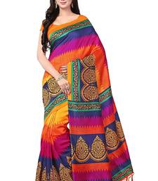 Buy Multicolor printed crepe saree with blouse below-1500 online
