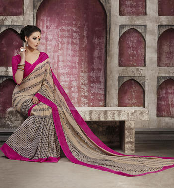 Trendy FallowBrown & Pink Georgette Saree