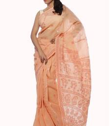 Buy Peach embroidered cotton saree with blouse chikankari-sari online
