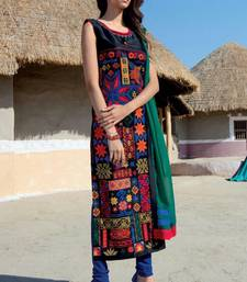 Buy multicolor stitched taffeta silk stitched kurti wedding-season-sale online