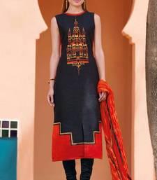 Buy black stitched taffeta silk stitched kurti multicolor-kurti online