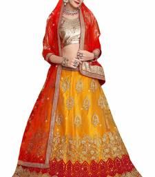Buy Yellow embroidered net unstitched lehenga with dupatta lehenga-choli online