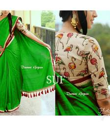 Buy Green printed chanderi saree with blouse chanderi-saree online