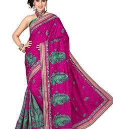 Buy Rani pink embroidered manipuri silk saree with blouse manipuri-silk-saree online