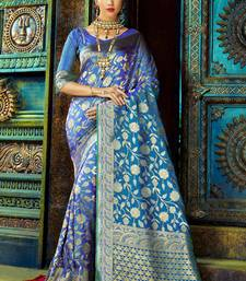 Buy Blue woven kanchipuram silk saree with blouse pongal-dhoti-saree online