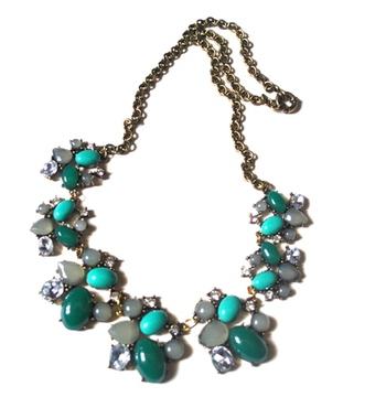 Green gems acrylic  necklace