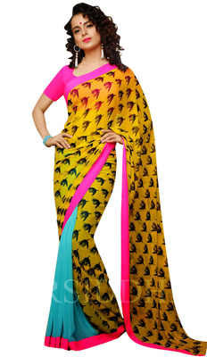 Designer Partywear Festival Wear Georgette Yellow Saree With Pink Blouse