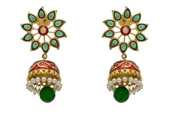 ANTIQUE GOLDEN STONE STUDDED FLOWER SHAPED MEENA JHUMKA EARRINGS/HANGINGS (GREEN RED)  - PCAE2143