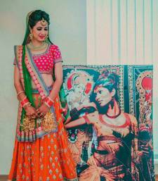 Buy Multicolor embroidered silk unstitched lehenga with dupatta black-friday-deal-sale online