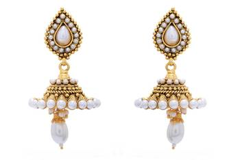 ANTIQUE GOLDEN STONE STUDDED ETHNIC JHUMKA/EARRINGS/HANGINGS (PEARL) - PCAE2285