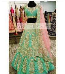 Buy Sky blue embroidered silk unstitched lehenga with dupatta lehenga online