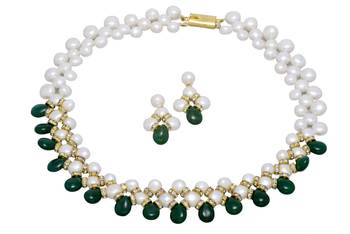 UNIQUE BUTTON PEARLS NECKLACE SET WITH GREEN DROPS FROM HYDERABAD -