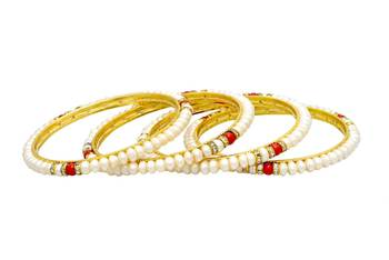 SINGLE LINE REAL PEARLS CORAL & AD CHAKRI BANGLES SET FROM HYDERABAD (4PCs) -