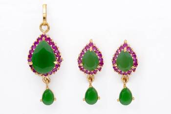 EXOTIC STONE STUDDED PAAN LOCKET SET WITH EARRINGS (EMRALD RUBY) -