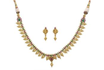 ANTIQUE GOLDEN STONE STUDDED MANGO TEMPLE THEME NECKLACE SET (RED GREEN)  -