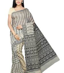 Buy Beige printed cotton saree with blouse gadwal-saree online