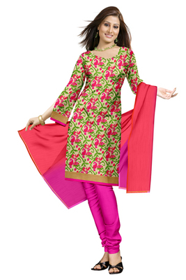 Faux Georgette Salwaar Kameez With Resham Embroidery (Fabric Only) - C0103021
