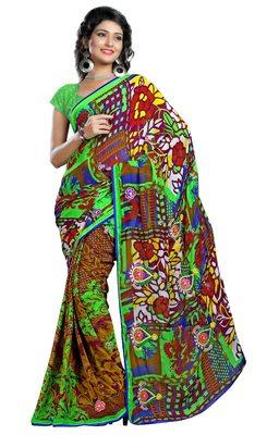 Multi Printed Chiffon Saree With Blouse