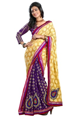 Purple Embroidered Brasso,Viscose Saree With Blouse