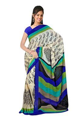 Wheat , Black & Blue Colored Chiffon Printed Saree
