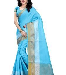 Buy Blue woven banarasi silk saree with blouse banarasi-silk-saree online