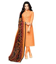 Buy Peach plain art silk salwar with dupatta dress-material online