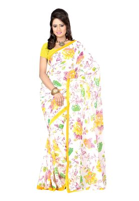 White Colored Georgette Printed Saree