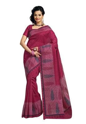 Light Brown Colored Cotton Printed Saree
