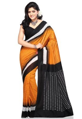 Orange hand_woven Cotton cotton-sarees With Blouse
