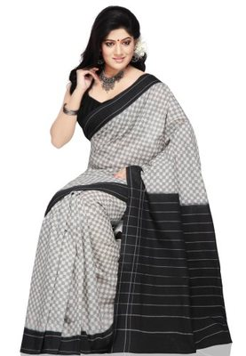Grey hand_woven Cotton cotton-sarees With Blouse