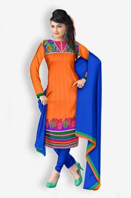 Traditional Women Orange Jacquard Unstitched Anarkali  Churidar