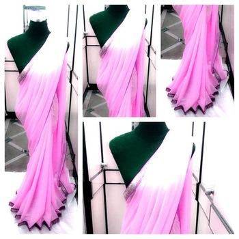 pink Semi  Georgette saree